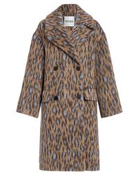 0fdcb50c2082 KENZO - Leopard Double-breasted Oversized Coat - Lyst