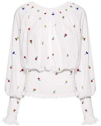 SUNO - Smocked Floral Embroidered Blouse - Lyst