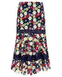 Sea - 3d Floral Lace Midi Skirt - Lyst
