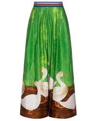 Stella Jean - Goose Animal-print Wide-leg Cropped Pants - Lyst