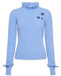 RED Valentino - Star High Neck Wool And Cashmere Ruffled Sweater - Lyst