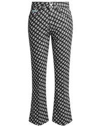 ALEXACHUNG - High-rise Plaid Crop Flared Jeans - Lyst