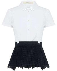 O'2nd - David Contrast Peplum Top - Lyst