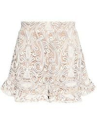 Alexis - Barron High-rise Lace Ruffle Shorts - Lyst