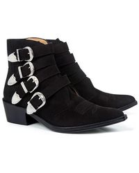 Toga Pulla - Classic Suede Buckled Ankle Booties - Lyst