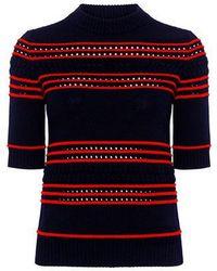 SUNO - Pointelle Stripe Sweater - Lyst