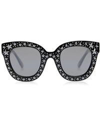 e6696f52f88 Lyst - Gucci Oversize Crystal Star Mirrored Square Sunglasses in ...