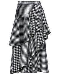 Marissa Webb - Wanda Checkered Ruffle Midi Skirt - Lyst
