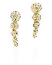 Fallon Shalom Pave Graduated Ball Climber Earrings Gold/pave