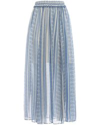 Philosophy Di Lorenzo Serafini - Printed Sheer Silk Blend Midi Skirt - Lyst