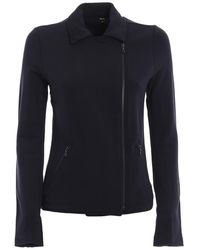 Majestic Filatures Asymmetric Zip Sweat Jacket - Blue