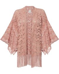Anna Sui - Pink Leaf Lace Fringed Kimono - Lyst