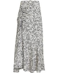 Nicholas - Paneled Ruched Floral Midi Skirt - Lyst