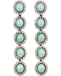 Elizabeth Cole - Von Crystal Drop Earrings Silver/turquoise 1size - Lyst