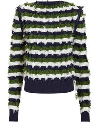 Sonia Rykiel - Zip Shoulder Fil Coupé Stripe Sweater - Lyst