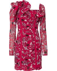 Self-Portrait - Ruched Floral Mini Dress - Lyst