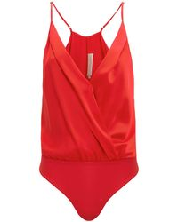 Michelle Mason - Red Cami Bodysuit - Lyst