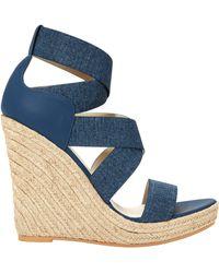 64c70f7dc2e Kate Spade Tomas Denim Ruffle Detail Wedge Sandals in Blue - Lyst