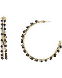 Rosantica - Angola Black Beaded Hoop Earrings - Lyst