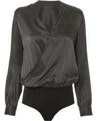L'Agence - Marcella Silk Charmeuse Bodysuit - Lyst
