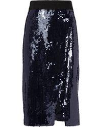 Victoria, Victoria Beckham - Navy Sequin Skirt - Lyst