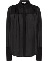 FRAME   Pleated Cuffs Sheer Noir Blouse   Lyst