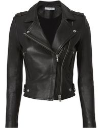 IRO - Dylan Black Cropped Moto Jacket - Lyst