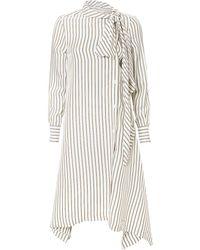 See By Chloé - Striped Tie-neck Midi Dress - Lyst