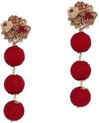 Mercedes Salazar Exclusive Fiesta Beaded Ball Earrings: Red
