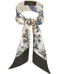 Manipuri - Butterfly And Floral Print Twilly Scarf - Lyst