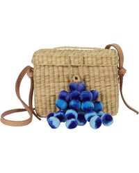 Nannacay - Roge Blue Pom Straw Basket Bag - Lyst
