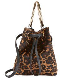 Maison Boinet - Haircalf Leopard Mini Bucket Crossbody - Lyst