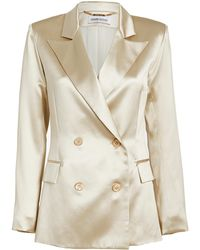 Adriana Iglesias Lauren Satin Double Breasted Blazer