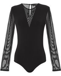 Exclusive For Intermix - Grace Mesh Inset Bodysuit - Lyst