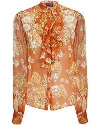 Nicholas - Orange Ruffle Front Floral Blouse - Lyst