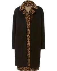 Yves Salomon - Leopard Vest And Wool Coat Combo - Lyst