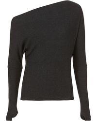 Enza Costa - Off Shoulder Thumbhole Grey Sweater - Lyst