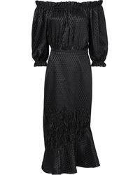 Saloni | Feather Accent Off Shoulder Dress | Lyst