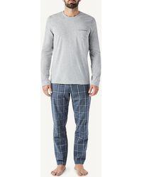 Intimissimi Long Denim Macro-check Fabric And Cotton Pajamas - Gray