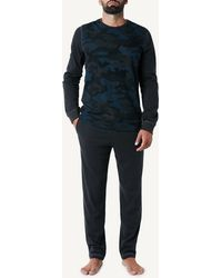 Intimissimi Camouflage Print Cotton Pajama Pant Set - Gray