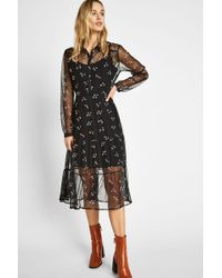 c6203db7524a3a Lyst - Ted Baker Simarra Florence Midi Long Sleeve Dress in Black