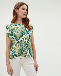 Jaeger - Cheese Plant Print Drape Shell Top - Lyst
