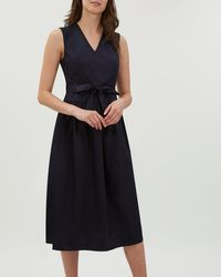 Jaeger - Fit And Flare Tie Waist Sateen Dress - Lyst