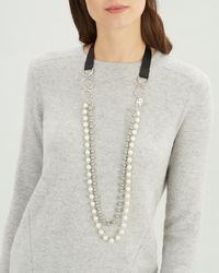 Jaeger - Pearl And Ribbon 2 Row Long Necklace - Lyst