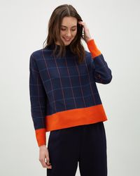 Jaeger - Merino Cropped Check Jumper - Lyst