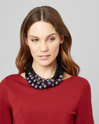 Jaeger - Large Beaded 3 Row Short Necklace - Lyst
