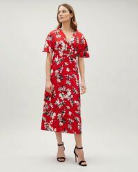 Jaeger - Brushstroke Floral Wrap Dress - Lyst