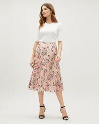 Jaeger - Floral Print Sunray Pleated Skirt - Lyst