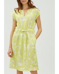 Jaeger - Floral Camouflage Linen Tie Waist Dress - Lyst