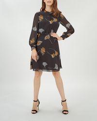 Jaeger - Dark Floral Print Fit And Flare Dress - Lyst 6fa6187de